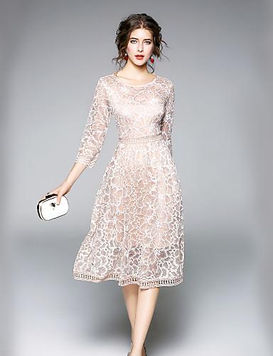 מידי תחרה / חור, אחיד - שמלה גזרת A רזה סגנון רחוב ליציאה / עבודה בגדי ריקוד נשים / סתיו