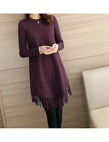 כותנה צבע אחיד - סוודר ארוך שרוול ארוך בגדי ריקוד נשים / אביב / קיץ