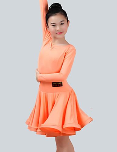 fc8ee8ba6ec5 Latinské tance Šaty Dívčí Výkon Spandex Sklady Dlouhý rukáv Šaty