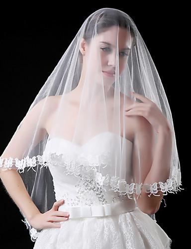 1 Strato Moderno - Matrimonio - Stile Semplice Veli Da Sposa Velo Corto (ai Gomiti) Con Motivo A Farfalla - A Fantasia Di Pizzo - Tulle - Ovale #06556088