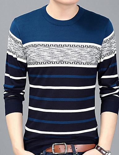 お買い得  メンズTシャツ&タンクトップ-男性用 プリント Tシャツ ベーシック ラウンドネック ストライプ ブルー XL / 長袖 / 秋 / ロング