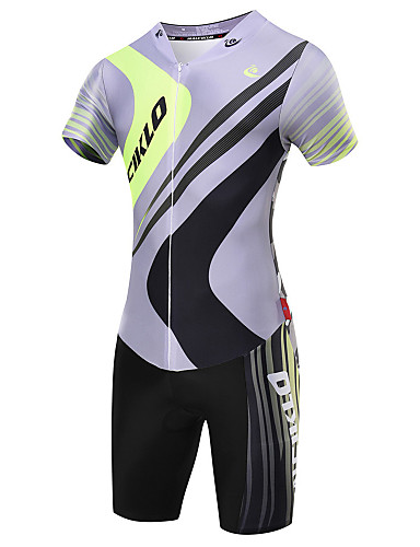 cheap Cycling Clothing-Malciklo Men's Short Sleeve Triathlon Tri Suit - Gray Geometic British Bike Breathable Quick Dry Sports Coolmax® Lycra Geometic Triathlon Clothing Apparel / High Elasticity / Advanced / Advanced