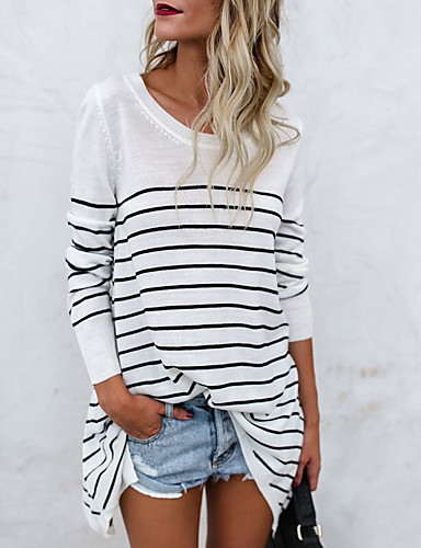 cheap Women's T-shirts-Women's Daily Basic Cotton Loose T-shirt - Striped White M / Spring / Fall / Fine Stripe