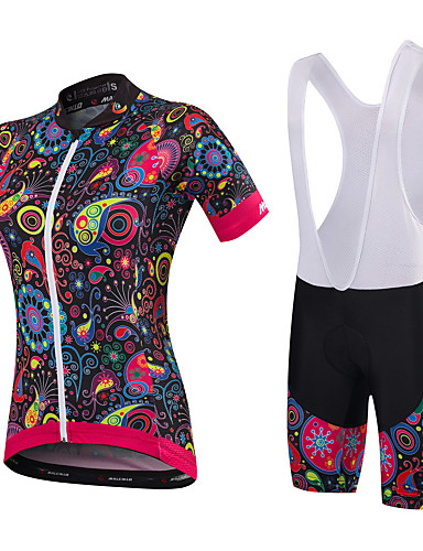642515f1314 Malciklo Women's Short Sleeve Cycling Jersey with Bib Shorts Green Blue  Orange+White Floral Botanical Plus Size Bike Clothing Suit Breathable 3D  Pad Quick ...