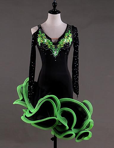 69e6505dff587 Latin Dance Dresses Women's Performance Spandex Georgette Appliques Crystals  / Rhinestones Long Sleeves High Dress