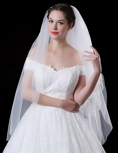 שתי שכבות סגנון מודרני ירח דבש נסיכות סגנון מינימליסטי חתונה הינומות חתונה צעיפי מרפק עם גדילים (פרנזים) שחבור תחרה טול