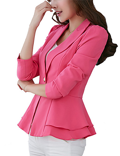 Women's Work Street chic Jacket - Solid Colored, Ruffle
