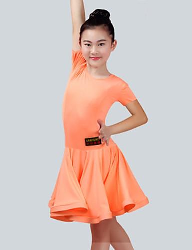 b3a837446 Latin Dance Dresses Girls' Performance Spandex Ruching Short Sleeves Dress