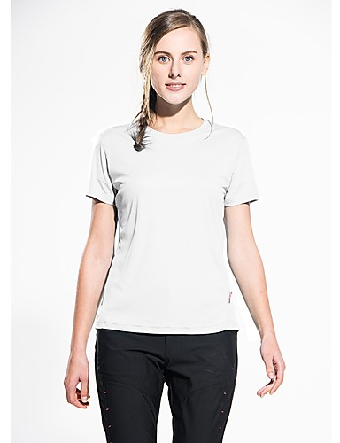 cheap Outdoor Clothing-Snowwolf® Women's Short Sleeve Solid Color Hiking Tee shirt Outdoor Summer Breathable Quick Dry Super Slim Reduces Chafing Tee / T-shirt Top 100% Polyester Crew Neck Peach Sky Blue Green Camping