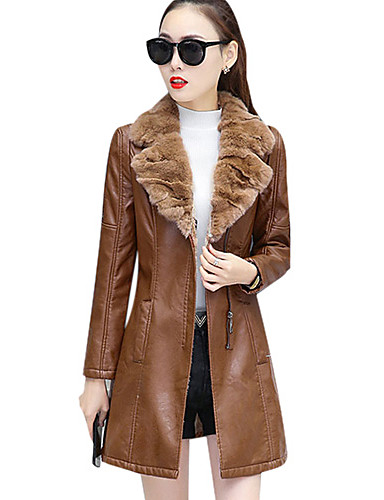 df9a23c6c95 Women s Going out   Weekend Street chic Fall   Winter Plus Size Long  Leather Jacket