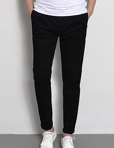 Pánské Běžný Jednoduchý Lehce elastické Kalhoty chinos Kalhoty Středně vysoký pas 100% polyester Jednobarevné Jaro