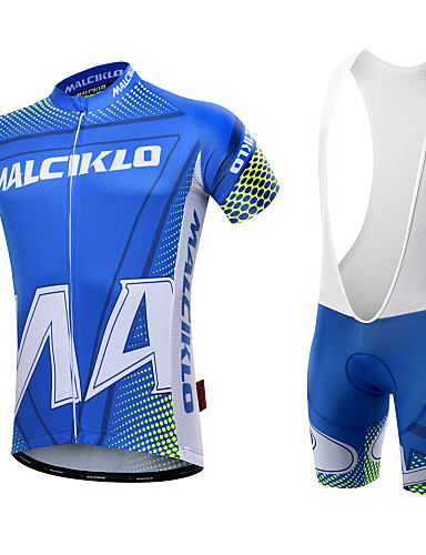 cheap Cycling Clothing-Malciklo Men's Short Sleeve Cycling Jersey with Bib Shorts - White Black Geometic British Bike Clothing Suit Breathable 3D Pad Quick Dry Back Pocket Sports Coolmax® Lycra Geometic Mountain Bike MTB