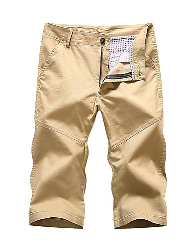 Męskie Moda miejska Rozmiar plus Bawełna Szczupła Krótkie spodnie Typu Chino Spodnie - Nadruk, Jendolity kolor Niski stan