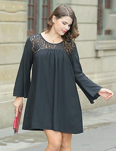 שחור מעל הברך תחרה, אחיד פרחוני - שמלה גזרת A משוחרר שחורה וקטנה מידות גדולות בגדי ריקוד נשים