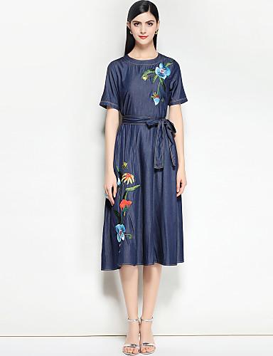 Damskie Vintage Bawełna Jeans Sukienka - Kwiaty, Nadruk / Podstawowy Midi / Wiosna / Lato