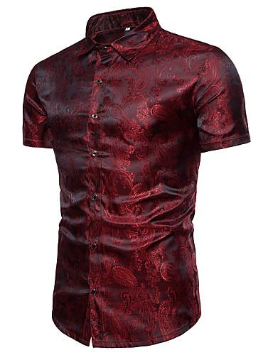 お買い得  メンズシャツ-男性用 シャツ ぜいたく スタンドカラー ソリッド コットン ネイビーブルー XL / 半袖 / 夏