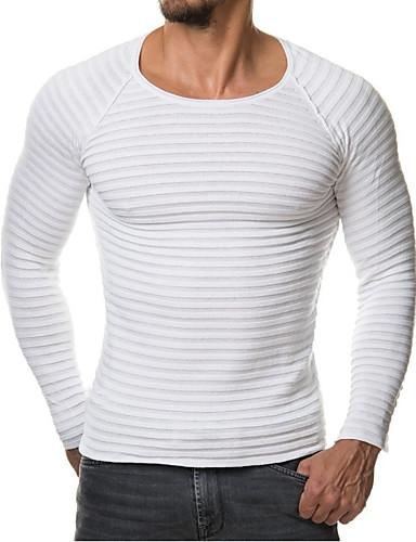 צבע אחיד - סוודר רזה שרוול ארוך צווארון עגול ספורט מידות גדולות בגדי ריקוד גברים