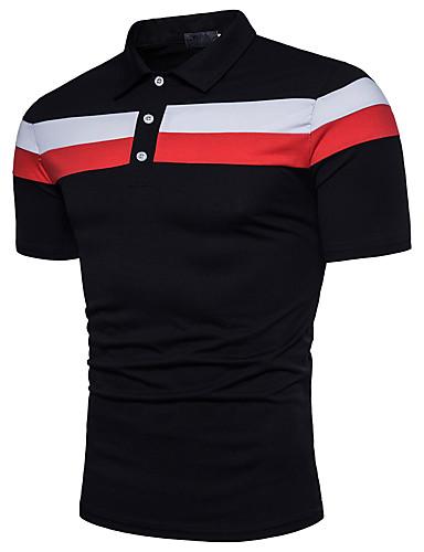 voordelige Herenpolo's-Heren Actief Standaard Polo Katoen Kleurenblok Overhemdkraag Wit / Korte mouw / Zomer