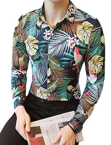 ea20415448 Homens Camisa Social - Bandagem Moda de Rua Floral Delgado Verde XXXL    Manga Curta