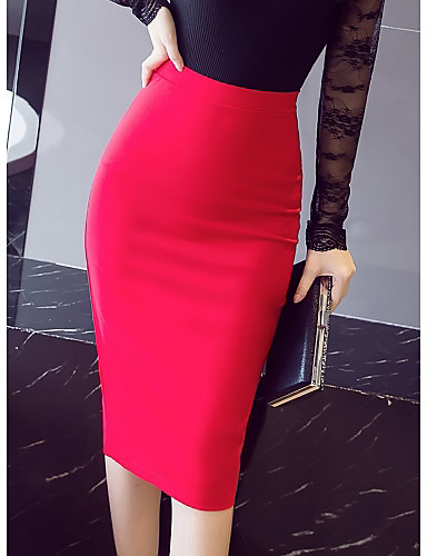 cheap Women's Skirts-Women's Daily / Work Bodycon / Trumpet / Mermaid Skirts - Solid Colored Black Red S M L