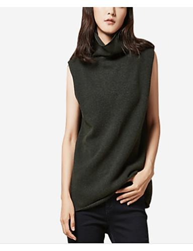 כותנה צבע אחיד - סוודר ללא שרוולים קולר בגדי ריקוד נשים