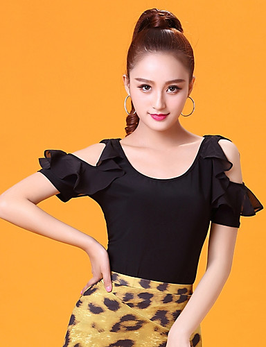 bfa3994ba48b Ballroom Dance Tops Women's Performance Ice Silk Ruching Short Sleeves Top