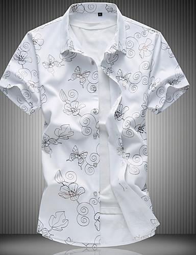 פרחוני רזה סגנון רחוב חולצה - בגדי ריקוד גברים / שרוולים קצרים