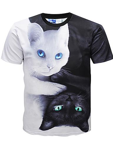 T-shirt Męskie Moda miejska / Punk i gotyk Okrągły dekolt Kolorowy blok / Zwierzę / Krótki rękaw