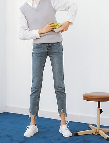 בגדי ריקוד נשים כותנה ג'ינסים מכנסיים אחיד