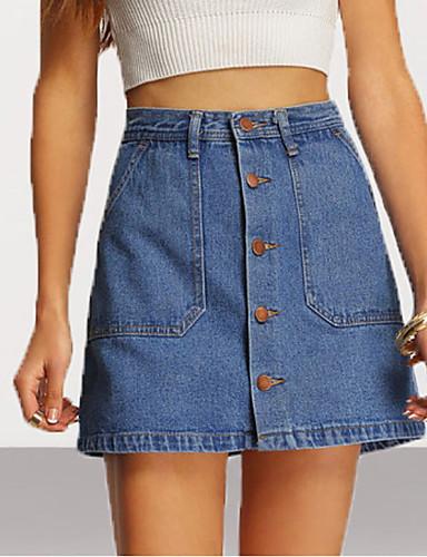 Damskie Bawełna / Jeans Mini Bodycon Spódnice - Wyjściowe Solidne kolory Wysoka talia