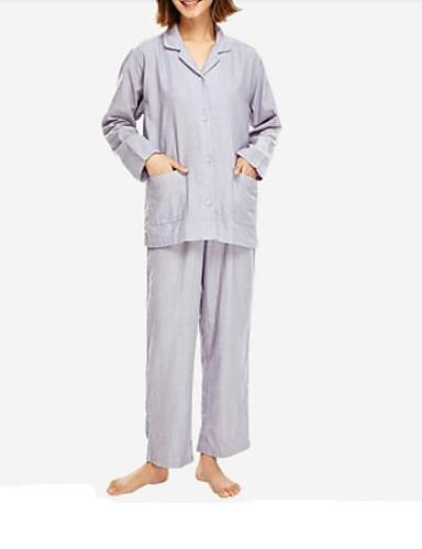 Damskie Bawełna Kołnierzyk koszuli Garnitury Piżama Solidne kolory