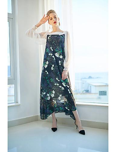 צווארון פיטר פן דפוס, פרחוני - שמלה משוחרר בוהו בגדי ריקוד נשים