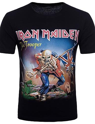 cheap Men's Tees & Tank Tops-Men's Going out Club Street chic / Punk & Gothic Cotton T-shirt Round Neck Black L / Short Sleeve / Spring / Summer