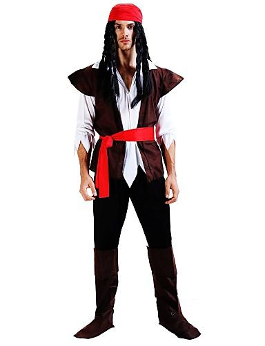 voordelige Cosplay & Kostuums-Pirates of the Caribbean Kostuum Heren Verjaardag Halloween Carnaval Nieuwjaar Festival / Feestdagen Polyesteri Koffie Carnaval Kostuums Geschilderd Niet van Toepassing