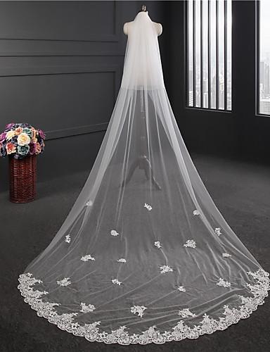 שתי שכבות שכבה כפולה הינומות חתונה צעיפי קפלה עם ריקמה טול