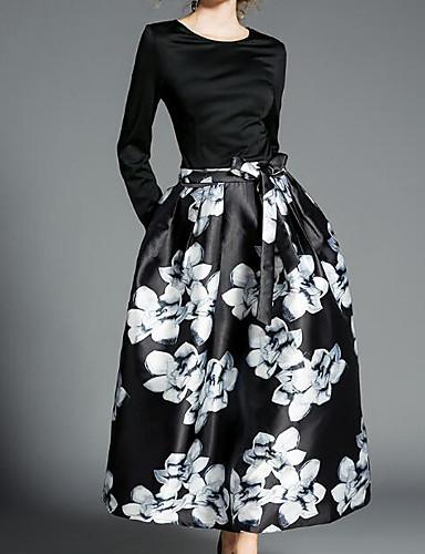 מקסי פרחוני - שמלה נדן בסיסי בגדי ריקוד נשים