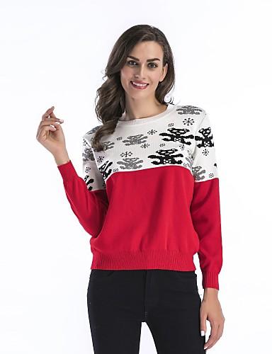 מבוגרים M / L / XL פול / שחור / אודם צווארון עגול אביב כותנה, סוודר קצר רגיל נורמלי שרוול ארוך קולור בלוק יומי / חגים בגדי ריקוד נשים