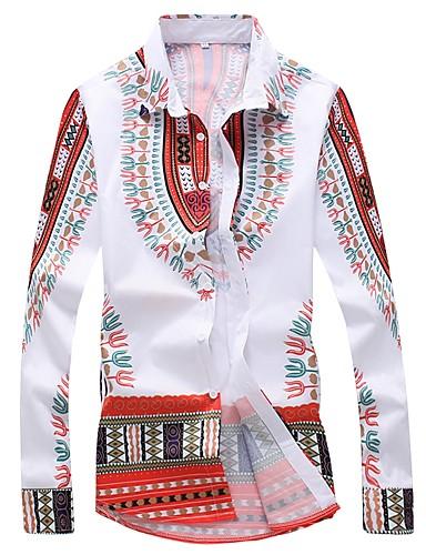 お買い得  メンズシャツ-男性用 プリント プラスサイズ シャツ ボヘミアン レギュラーカラー スリム トライバル パープル XL / 長袖