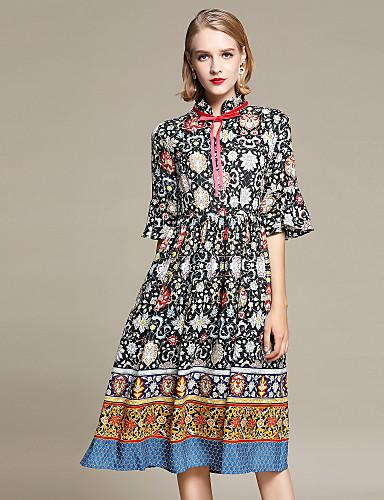 ff71f701125dd Kadın's Tatil Dışarı Çıkma Sokak Şıklığı Flare Kol İnce A Şekilli Kılıf Şifon  Elbise - Çiçekli