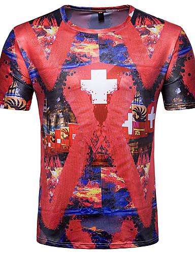 T-shirt Męskie Wzornictwo chińskie Kwiaty Geometryczny