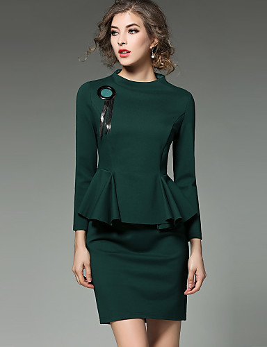 Damskie Wyrafinowany styl Moda miejska Pochwa Sukienka - Jendolity kolor, Z baskinką Mini