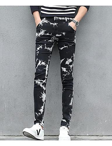 בגדי ריקוד גברים סגנון רחוב ג'ינסים מכנסיים - גיאומטרי שחור