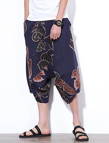 Męskie Boho Spodnie szerokie nogawki Spodnie Kwiaty