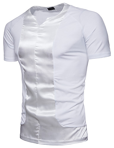 cheap Men's Tees & Tank Tops-Men's Daily Cotton T-shirt - Solid Colored Sequins Round Neck White XL / Short Sleeve / Summer