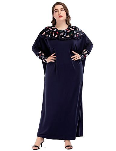 abordables Robes Femme-Femme Maxi énorme Ample Robe - Brodée Basique, Bloc de Couleur Printemps Marine Taille unique Manches Longues