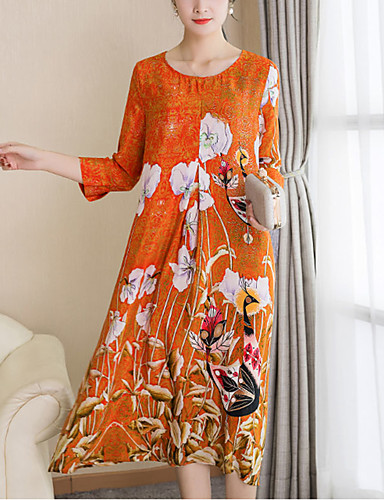 דפוס, פרחוני - שמלה ישרה מידות גדולות בגדי ריקוד נשים
