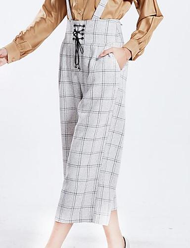 Damskie Szczupła Spodnie szerokie nogawki / Typu Chino Spodnie - Kokarda, Pepitkę Wysoki stan