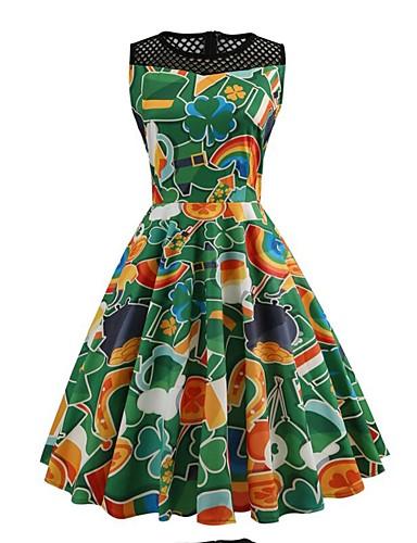 מעל הברך רשת, פרחוני - שמלה סווינג רזה סגנון רחוב בגדי ריקוד נשים