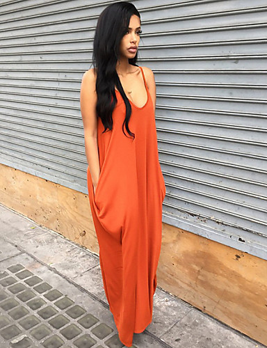 voordelige Maxi-jurken-Dames Feestdagen Uitgaan Boho Ruimvallend T Shirt Jurk - Effen Bandje Maxi / Sexy