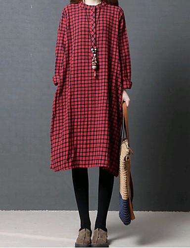 Per Donna Cotone Largo Vestito - Basic, A Scacchi Colletto Al Ginocchio #06586130 Lustro